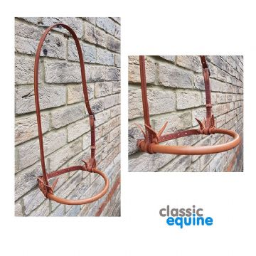 Leather Noseband with Round Nose - Chestnut